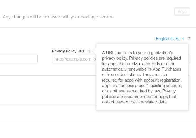 iTunes Connect privacy policy requirements