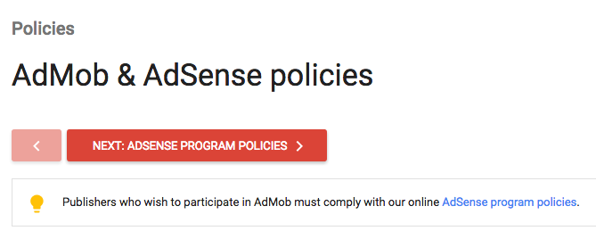 AdMob privacy policy requirement
