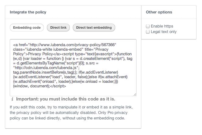 Embed free privacy policy