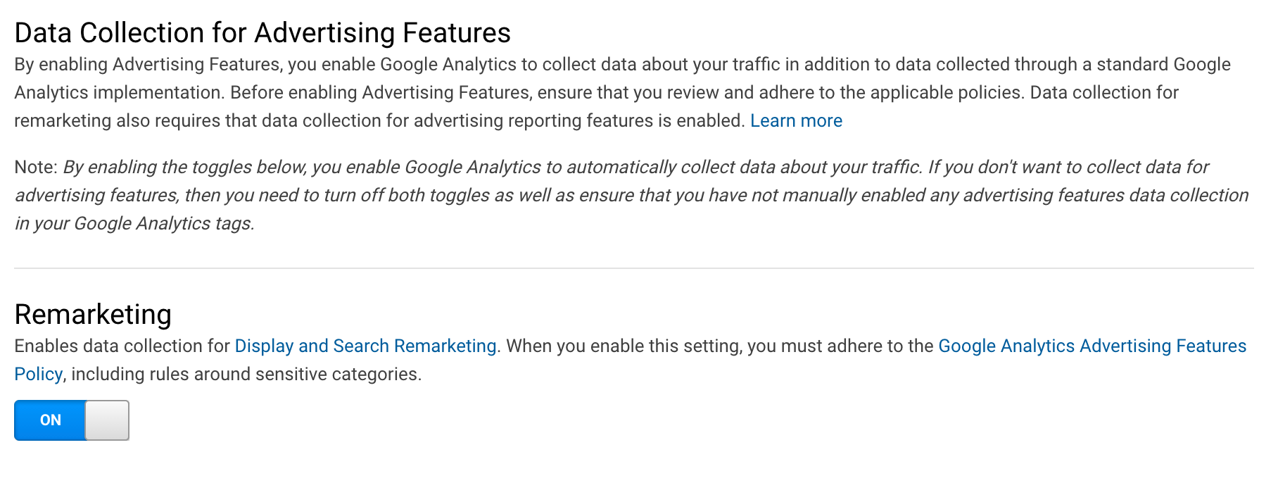 you are probably aware that any site using google analytics should display a privacy policy and disclose the use of google analytics